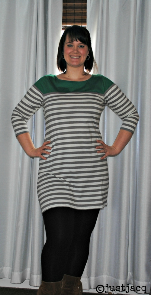 oldnavygreystripedress